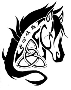 One Celtic horse tattoo example design