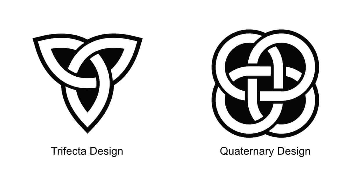 examples of basic Celtic Trifecta and Quaternary tattoo designs